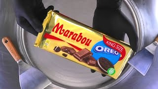 Ice Cream Rolls   Oreo Cookies & Marabou Chocolate fried rolled Ice Cream   satisfying Food ASMR