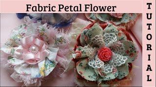 Petal Fabric Flower Diy, No Sew, Shabby Chic Crafts, Diy Fabric Flower, Cotton T Shirt Flowers,