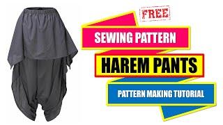 HOW TO MAKE HAREM PANTS PATTERN ~ PATTERN MAKING TUTORIAL