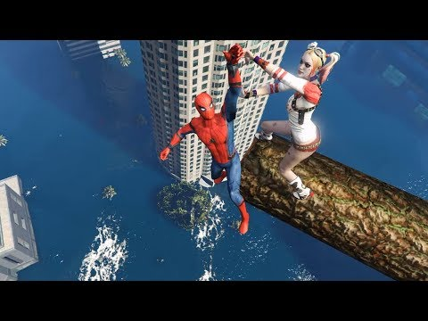 GTA 5 Spider-Man vs Harley Quinn Epic Ragdolls ep.40 (Funny Moments)