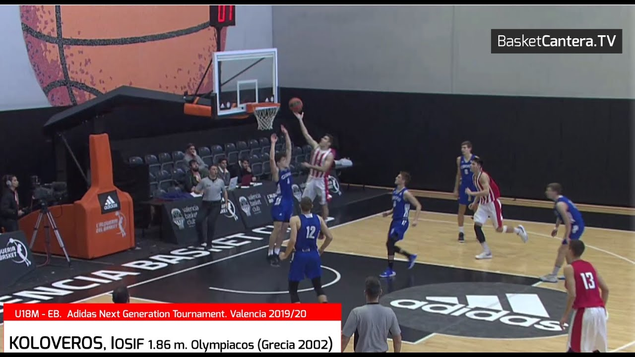 KOLOVEROS, IOSIF (´02) 1.86m. Olympiacos. Max. anotador U18 Euroleague B. AdidasNGT. Valencia2020 (BasketCantera.TV)