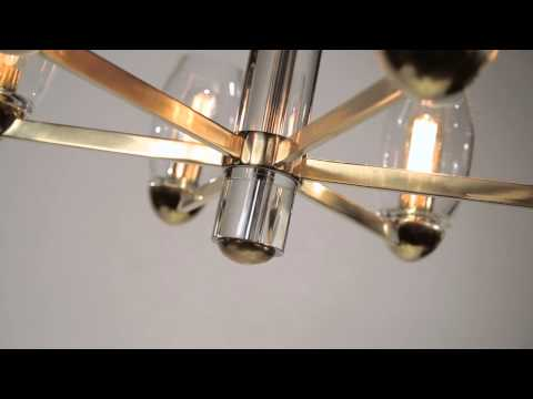 Video for Pamelia Aged Brass Six-Light Chandelier with Clear Glass