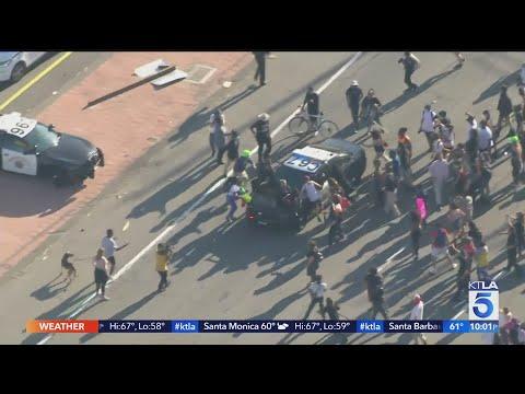 Demonstrators in Los Angeles protest death of George Floyd