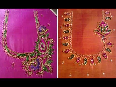 Aari Work And Maggam Work Blouse Back Neck Designs 2018 Aari Work