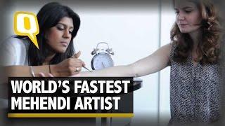 World's Fastest Mehendi Artist Displays Her Skills