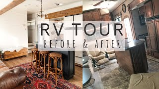 Renovated RV TOUR   Huge bunkhouse with wood beams   Full-Time family of 4 + dog   before and after