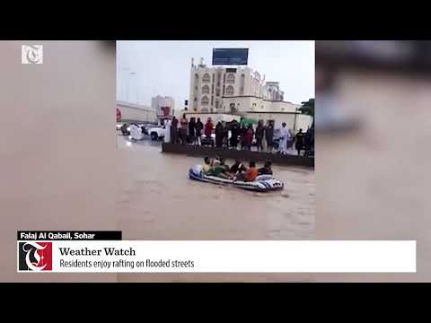 Residents enjoy rafting on flooded streets