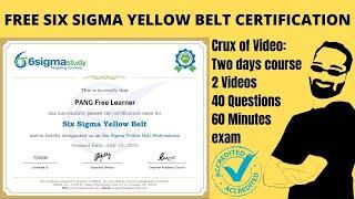 Free Six Sigma Yellow Belt Certification | 100% Free