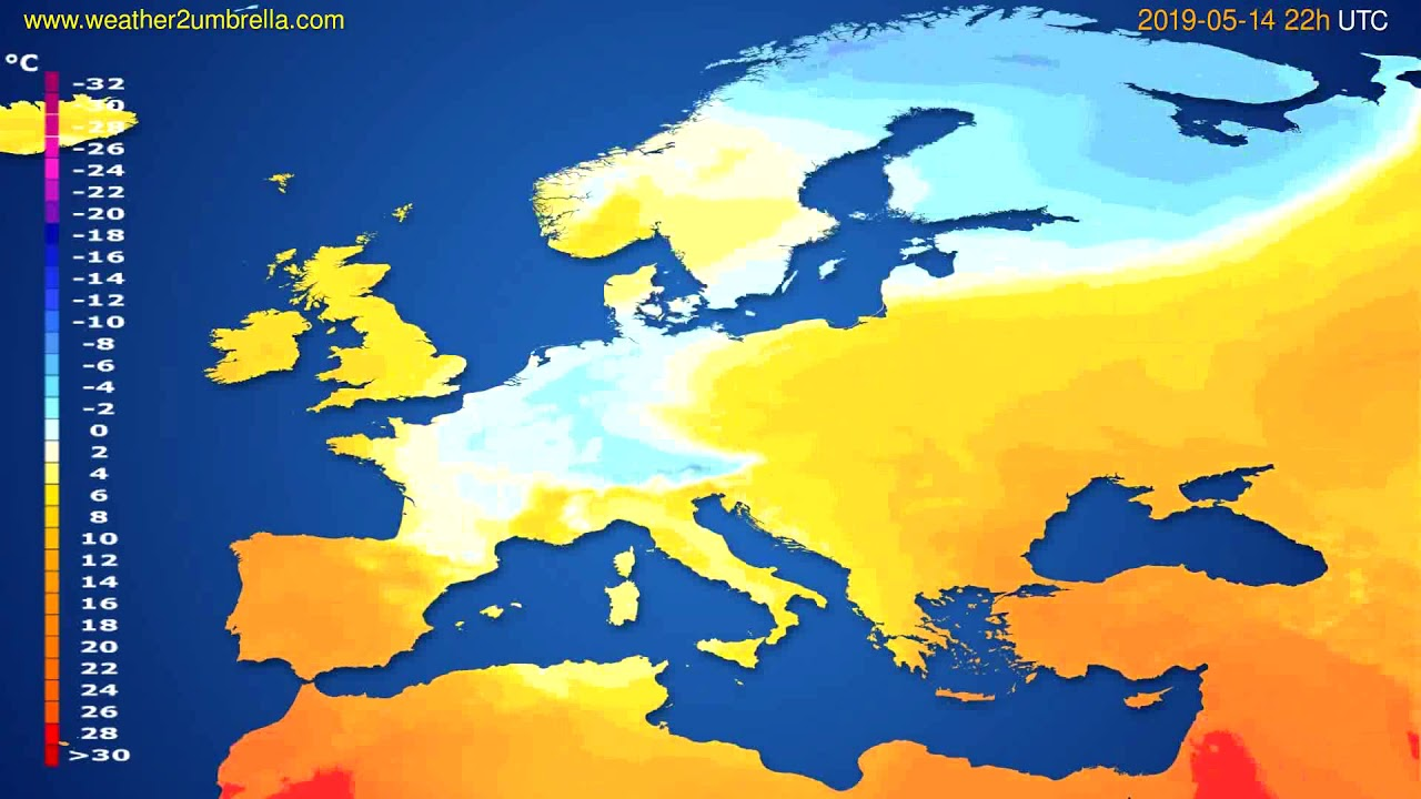 Temperature forecast Europe // modelrun: 00h UTC 2019-05-12