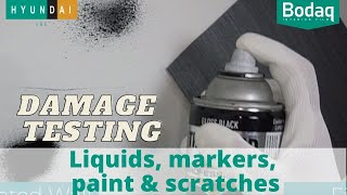 Damage Resistance Test – Stains, Scratches, Marker and Paint