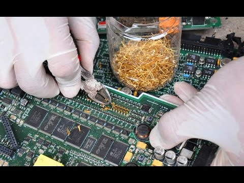 Gold Recycle from scrap components electronics. connectors Electronic circuit Boards computer parts.