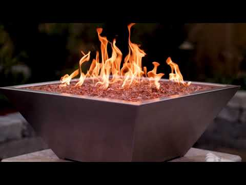BBQGuys Signature Series Westfalen Square High-Rise Column Fire Bowl - Stainless Steel