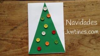Tarjetas de Navidad para niños: árbol de navidad con botones