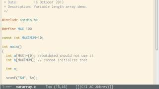 C Programming Part 28 Arrays Part 9 VAriable Length Arrays