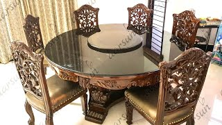 #139 Latest Design Round Dining Table Teak Wood 6 Chair Best Price & Quality @Aarsun
