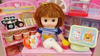 Baby doll and Hello Kitty mini mart toys play