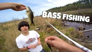 BASS FISHING OUR SECRET POND!