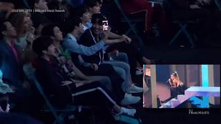 "[Fancam] BTS Reacts To Ariana Grande ""No Tears Left To Cry"" At The BBMAs 2018"