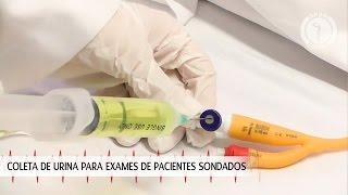 Coleta de urina para exames de pacientes sondados