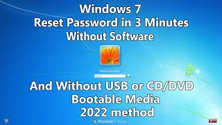 2021 How to Reset Windows 7 Password without any Software or Bootable USB/CD/DVD media.