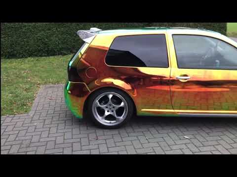 VW Golf 4 Chrom foliert Folie Chromfolie Wrapping Tuning Golf Carwrapping Rainbow