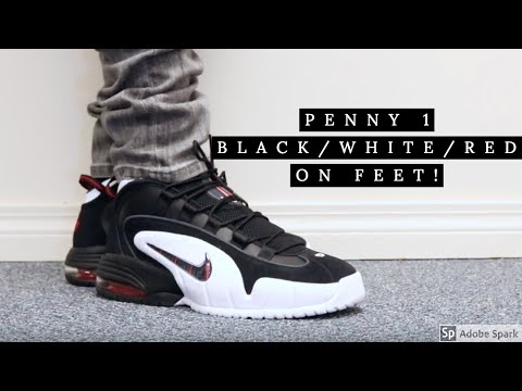 NIKE AIR MAX PENNY 1 (BLACK/WHITE/RED) ON FEET