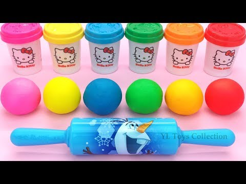 Learn Colors Hello Kitty Dough With Ocean Tools And Cookie Molds Surprise Toys Kinder Eggs Mp3