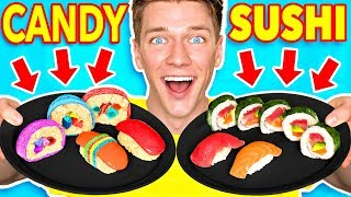 Making FOOD out of CANDY!! Learn How To Make DIY Edible Candy vs Real Food Challenge