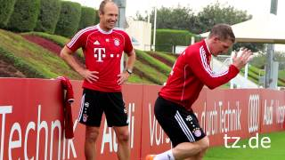 """FC Bayern In Doha:""""Arjen Robben"""" Und """"Bastian Schweinsteiger"""" Machen Fortschritte (06.01.2014)"""