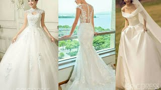 BEAUTIFUL WHITE WEDDING DRESSES COLLECTION 2019 || WHITE BRIDAL GOWNS/FROCKS