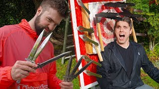 KNIFE THROWING TRICK SHOT BATTLE! *Scary Punishment For Loser!*