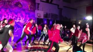 60 year old Canadian high school dance teacher, Shirley Clements, performs with her students at Hip