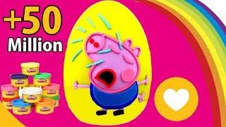 Massinha de Peppa Pig em Português Brasil Ovo Surpresa Gigante George Pig Chorando