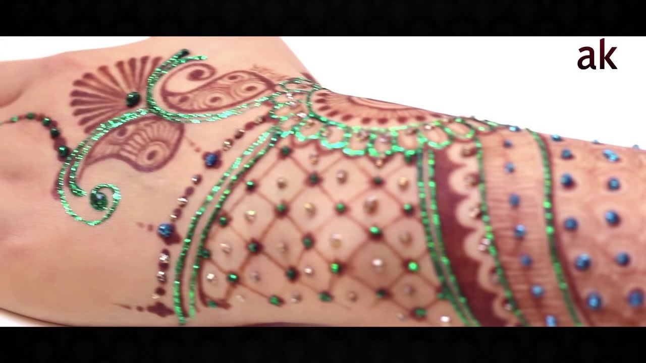 glitter mehndi design by ash kumar beauty