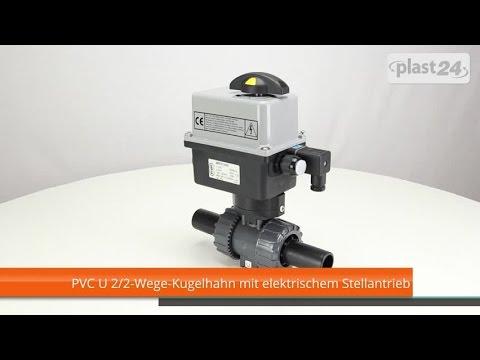 PVC U 2/2-Wege-Kugelhahn mit elektrischem Stellantrieb