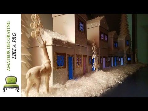 DIY Kid Friendly Dollar Tree Winter Wonderland Village & Holiday Night Light