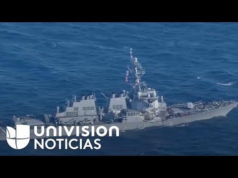 Insólito choque de un barco de guerra estadounidense contra un carguero filipino