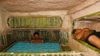 Dig Hole Under Wood roots To Build House & Add Bathtub Pool In House