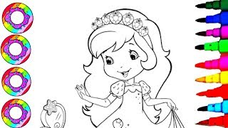 Drawings And Coloring Princess Strawberry Shortcake For Kids With Rainbow Headband Pages