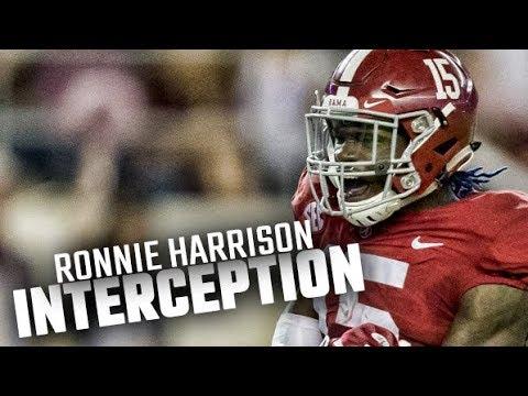 Alabama's Ronnie Harrison intercepts LSU's Danny Etling