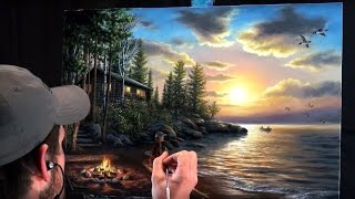 Acrylic Landscape Painting Time-lapse | Sunset at the lake
