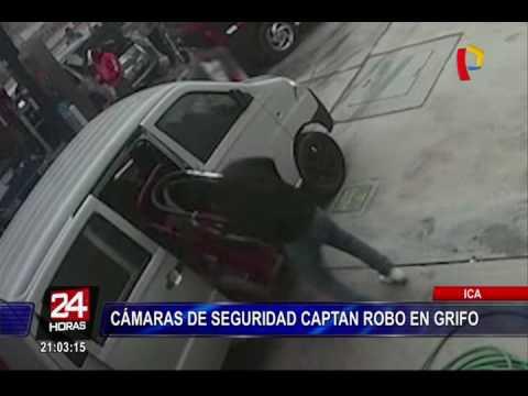Cámaras de seguridad captaron robo en grifo de Ica