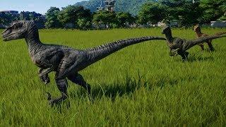 Jurassic World Evolution - Blue, Echo, Delta & Charlie vs Indoraptor (1080p 60FPS)