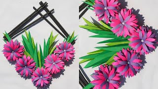 Diy Home Decor Craft Idea 🔷 Easy Paper Flowers Wall Art 🌺 Homemade Origami Flower Wall Hanging