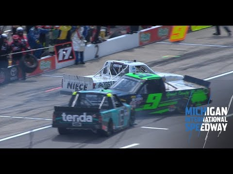 Chastain caught in multi-truck collision on Michigan pit road