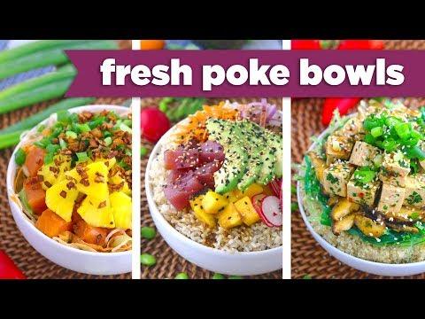 Healthy Poke Bowl Recipes! Tuna, Salmon & Tofu! - Mind Over Munch