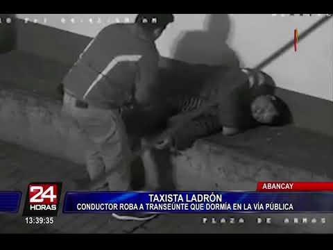 Abancay: cámara capta a taxista robando a hombre que se quedó dormido en la calle