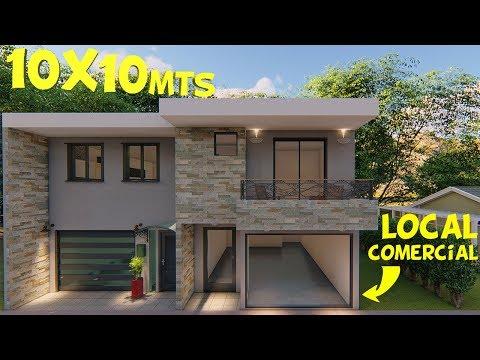 Plano de Casa con Local Comercial 10x10m