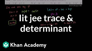 IIT JEE Trace and Determinant