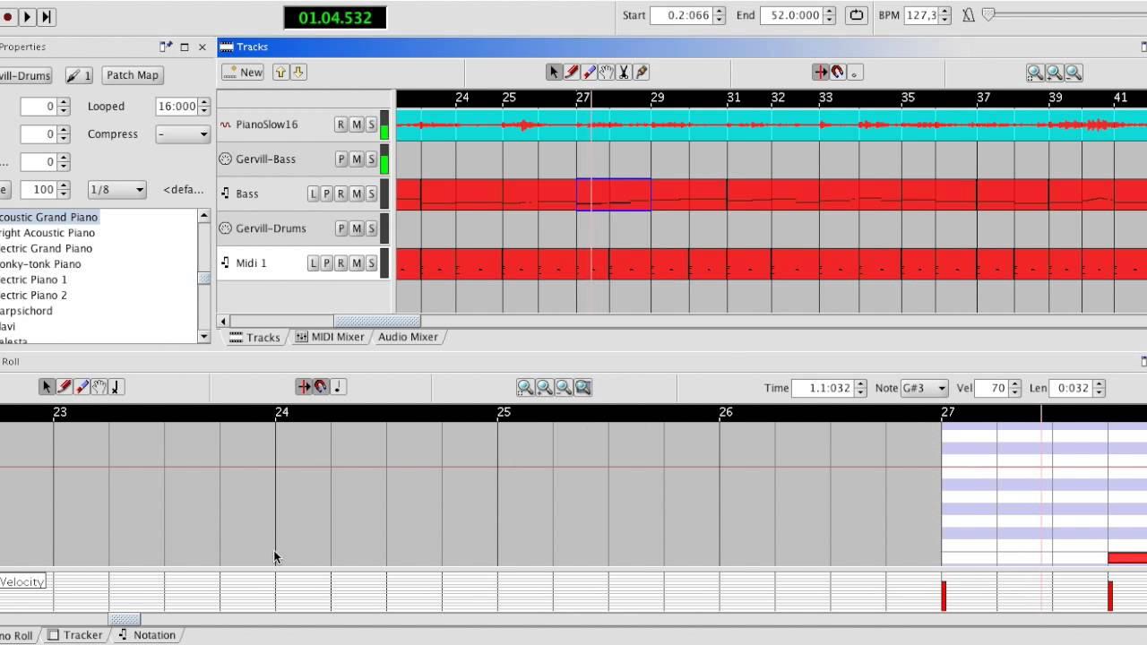 Piano recording enhanced with Frinika